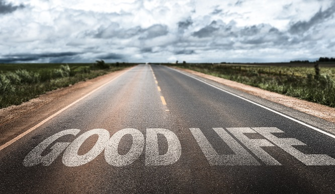 Good Life written on rural road